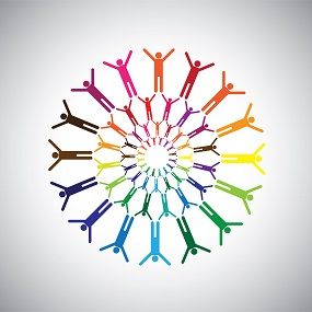 colourful stick men in circles with arms outstretched