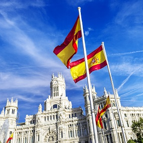 Cibeles museo with Spanish flags outside